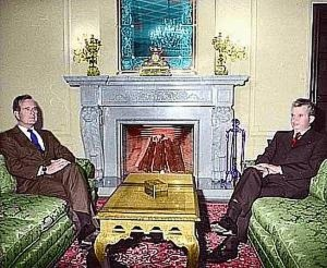 5. President George H. W. Bush meeting with Ceausescu